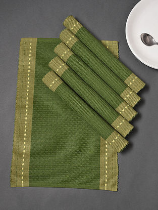 Green Handloom Cotton Table Placemats (Set of 6) (19in x 13in)