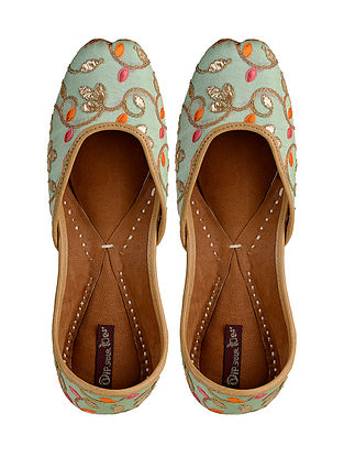 Green- Multicolored Hand-Embroidered Leather Jutti