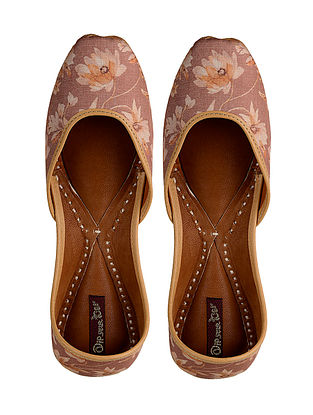 Brown-Beige Printed Leather Jutti
