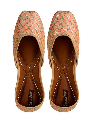 Peach-Gold Hand-Embroidered Leather Jutti