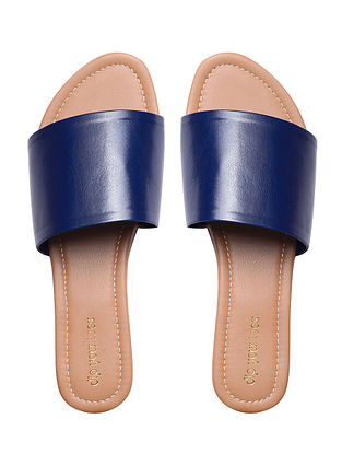 Navy Blue Handcrafted Faux Leather Flats