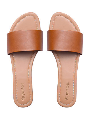 Brown Handcrafted Faux Leather Flats