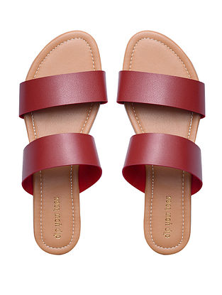 Maroon Handcrafted Faux Leather Flats