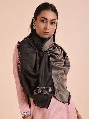 Black Phulkari Embroidered Modal Silk Stole