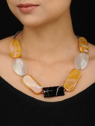 Black Yellow Quartz and Rhodolite Beaded Necklace