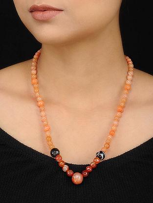 Orange Black Onyx Beaded Necklace