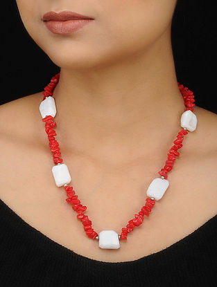 Red White Agate and Opal Beaded Necklace