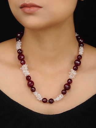 Red White Rock Crystal and Onyx Beaded Necklace