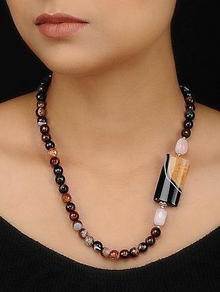 Black Brown Onyx Quartz and Rose Quartz Beaded Necklace