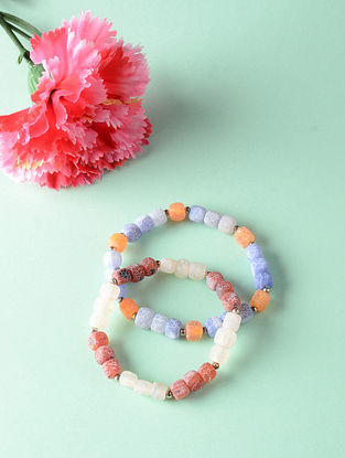 Multicolored Onyx Beaded Bracelets (Set of 2)