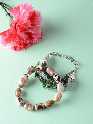 Multicolored Garnet Aquamarine and Onyx Beaded Bracelets (Set of 2)