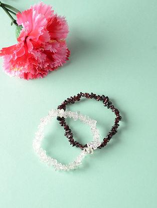 Brown White Garnet and Rock Crystal Bracelets (Set of 2)