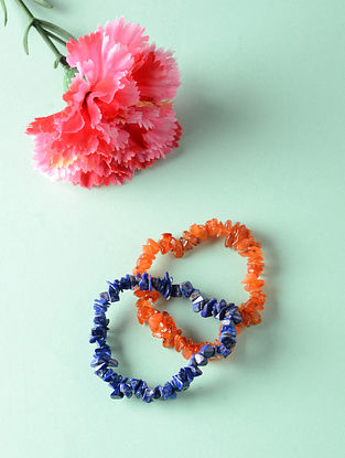 Orange Blue Lapis Lazuli and Carnelian Bracelets (Set of 2)