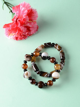 Brown White Onyx Natural Tumble Bracelets (Set of 2)