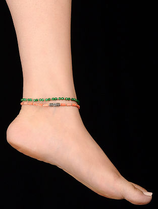 Gree Orange Coral and Onyx Anklets (Set of 2)