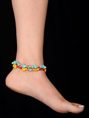 Multicolored Coral Anklets (Set of 2)