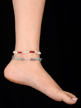 Multicolored Aquamarine Iolite and Rock Crystal Anklets (Set of 2)
