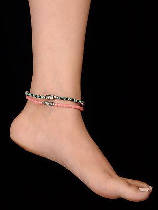 Orange Green Onyx Anklets (Set of 2)
