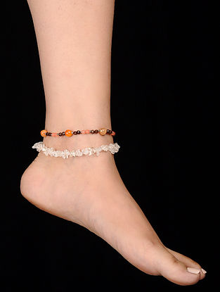 Orange White Onyx and Rock Crystal Anklets (Set of 2)