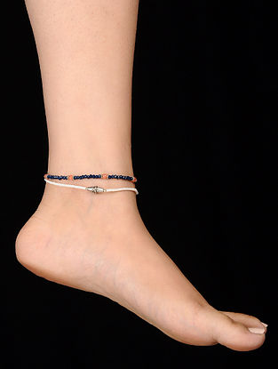 White Blue Onyx and Coral Anklets (Set of 2)