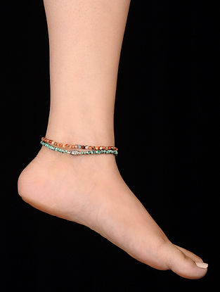 Brown Green Onyx Anklets (Set of 2)