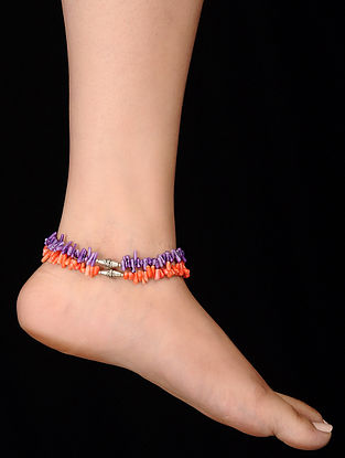 Purple Orange Coral Anklets (Set of 2)