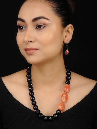 Orange Black Onyx and Carnelian Beaded Necklace with Earrings (Set of 2)