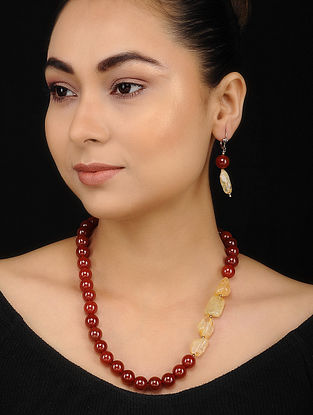 Red Yellow Jasper and Quartz Beaded Necklace with Earrings (Set of 2)