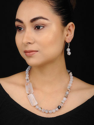 White Grey Quartz and Onyx Beaded Necklace with Earrings (Set of 2)
