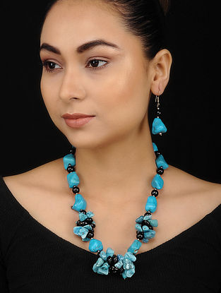 Black Firozi Turquoise and Onyx Beaded Necklace with Earrings (Set of 2)