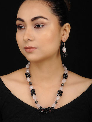 Brown Pink Tourmaline and Rose Quartz Beaded Necklace with Earrings (Set of 2)