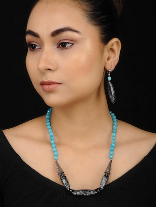 Firozi Black Onyx and Chalcedony Beaded Necklace with Earrings (Set of 2)