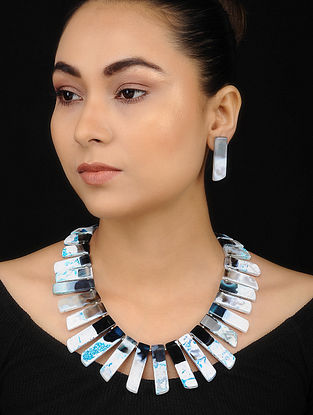 Multicolored Jade Beaded Necklace with Earrings (Set of 2)