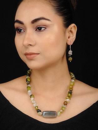 Green Jade Beaded Necklace with Earrings (Set of 2)