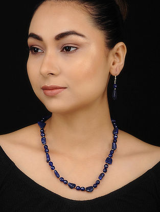 Navy Blue Lapis Lazuli Beaded Necklace with Earrings (Set of 2)