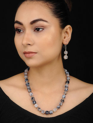 Grey Onyx Beaded Necklace with Earrings (Set of 2)