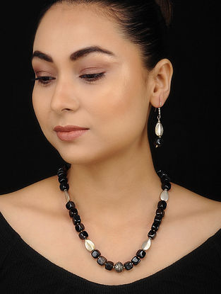 Black Onyx Beaded Necklace with Earrings (Set of 2)
