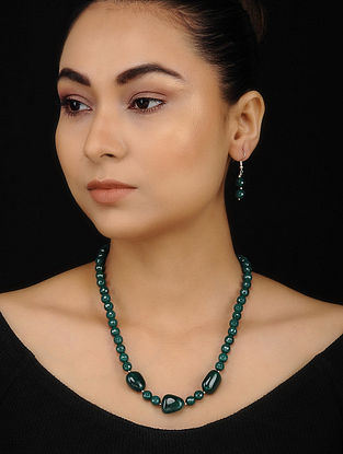 Green Onyx and Apatite Beaded Necklace with Earrings (Set of 2)