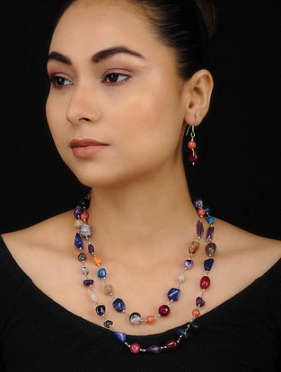 Multicolored Gypsys Beaded Necklace with Earrings (Set of 2)