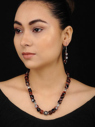 Smoky Brown Onyx Beaded Necklace with Earrings (Set of 2)