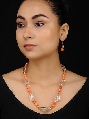 Orange Yellow Onyx and Citrine Beaded Necklace with Earrings (Set of 2)