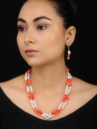 White Orange Coral and Opal Beaded Necklace with Earrings (Set of 2)
