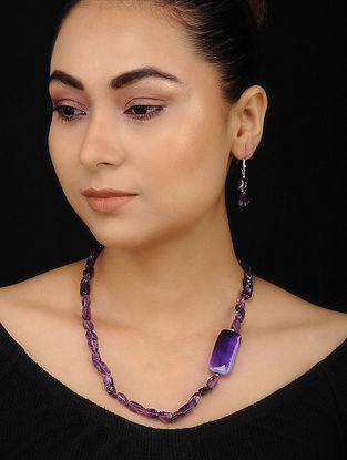 Purple Amethyst Beaded Necklace with Earrings (Set of 2)