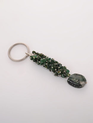 Green Garnet and Prehnite Key Chain