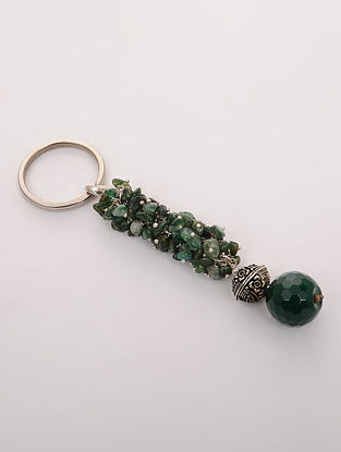 Green Garnet and Onyx Key Chain