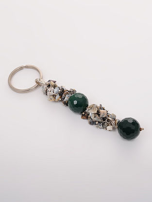 Green Grey Quartz and Onyx Key Chain