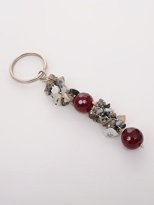 Red Grey Quartz and Onyx Key Chain