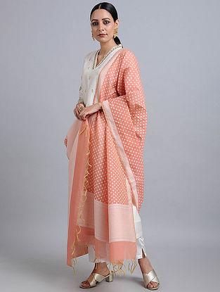 Peach Handwoven Benarasi Cotton Dupatta