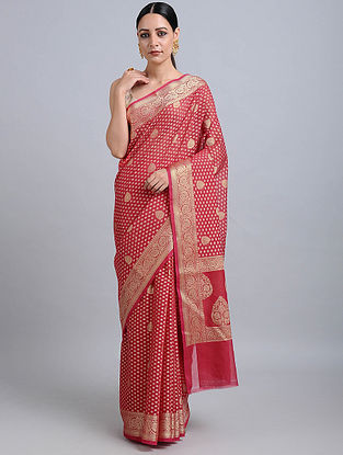 Red Benarasi Cotton Saree