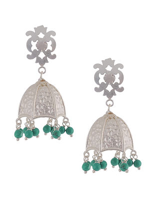 Turquoise-Silver Plated Brass Earring